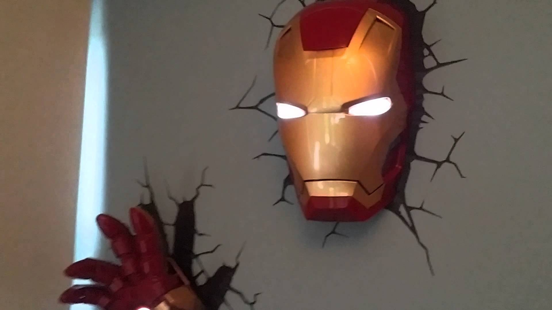 Iron Man 3d Deco Light Helmet And Hand On Wall – Youtube Pertaining To Most Recently Released 3d Wall Art Iron Man Night Light (View 6 of 20)