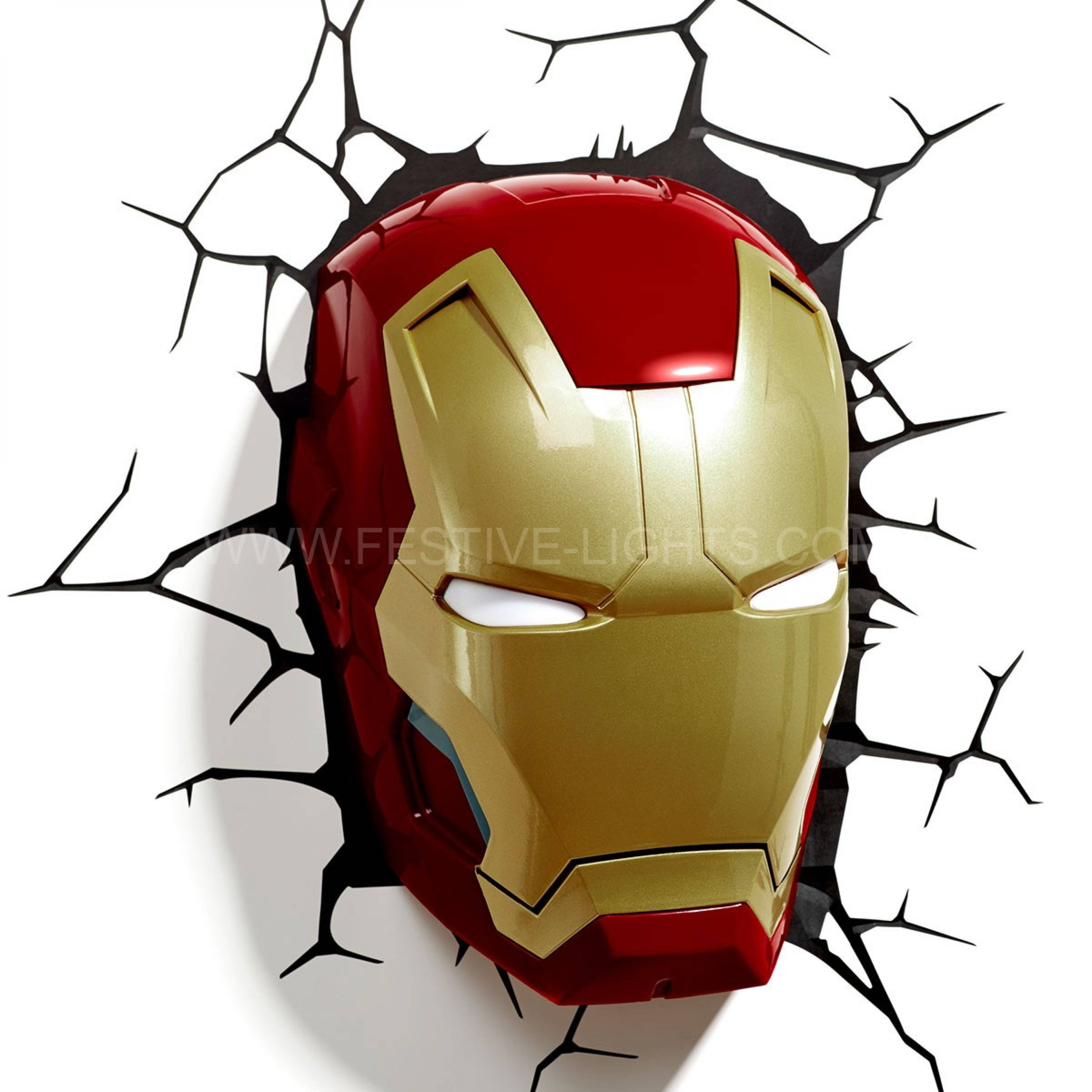 Iron Man Mask 3d Led Battery Wall Art Night Light Ironman ~ Idolza Regarding Latest Iron Man 3d Wall Art (View 2 of 20)