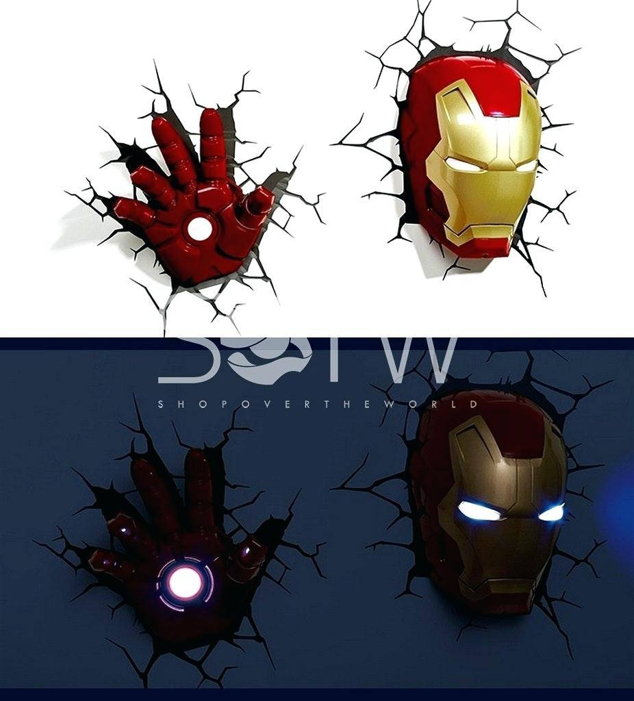 Iron Man Wall Light Cool In Superhero Night Lights Marvel Of Hulk With Most Popular 3D Wall Art Night Light Spiderman Hand (View 14 of 20)