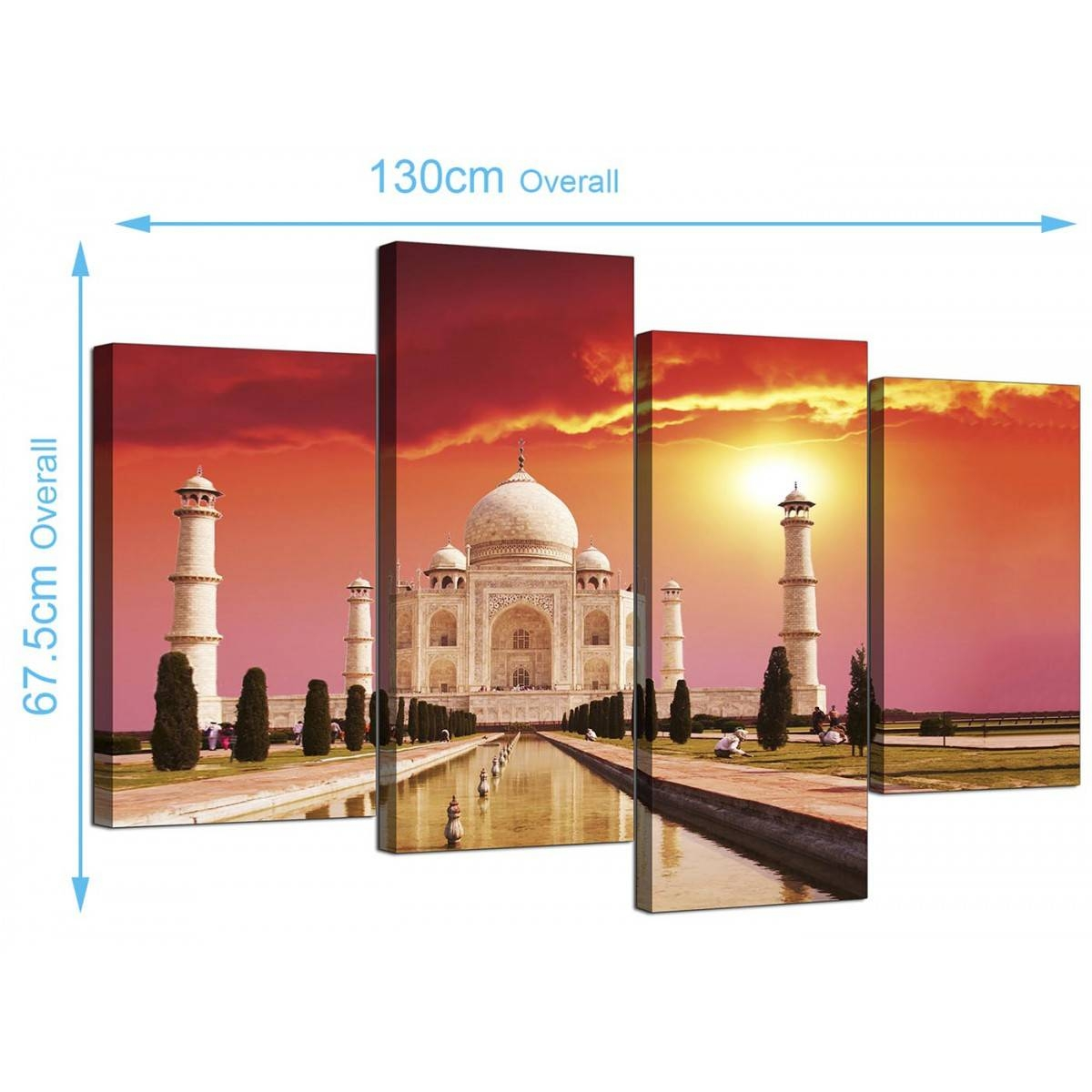 Islamic Canvas Pictures Of The Taj Mahal For Your Bedroom – 4 Panel With Recent Taj Mahal Wall Art (View 13 of 25)
