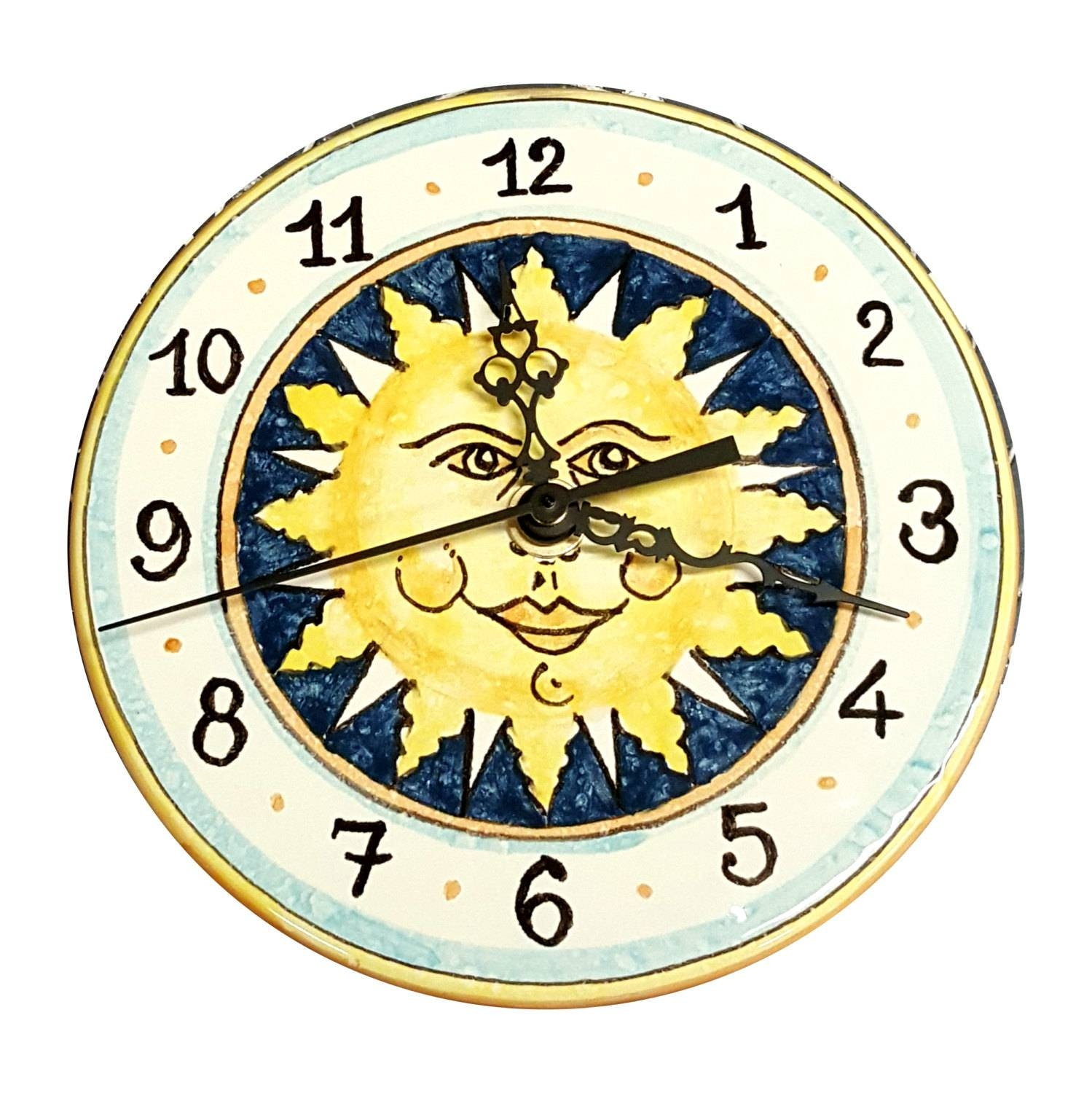 Italian Ceramic Wall Clock Decorated Sun Hand Painted Made In In Current Italian Ceramic Wall Art (View 17 of 30)