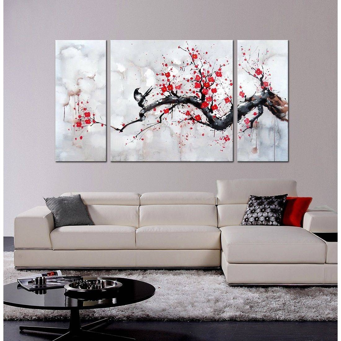 Japanese Syle Wall Art Red Plum Blossom Gallery Wrapped Canvas 3 Regarding Latest Japanese Wall Art Panels (Gallery 5 of 25)