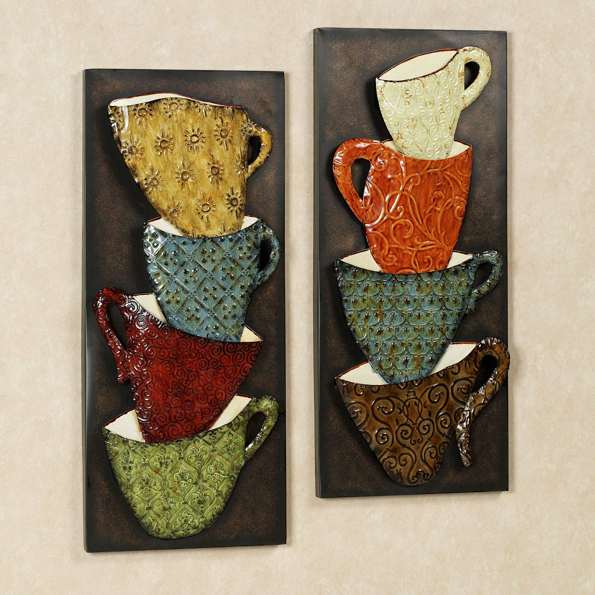Java Mugs Metal Wall Panel Set intended for Most Popular Metal Coffee Cup Wall Art