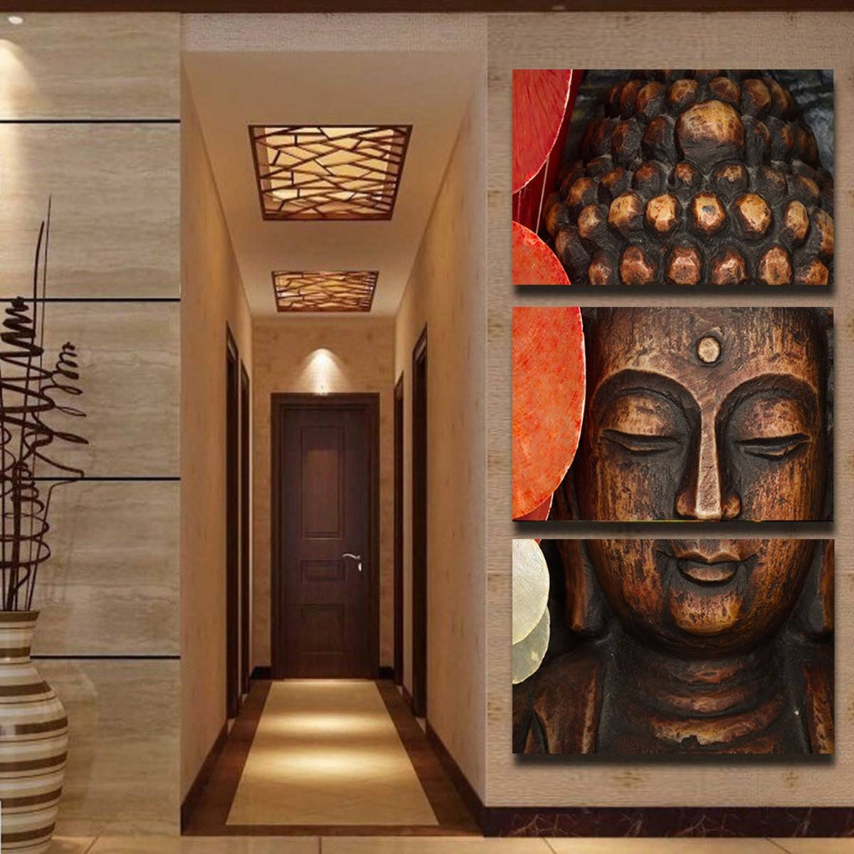 Jermyn 3 Piece Wall Art Diy 3D Buddha Oil Painting Hd Canvas Print Intended For Latest 3D Buddha Wall Art (View 17 of 20)