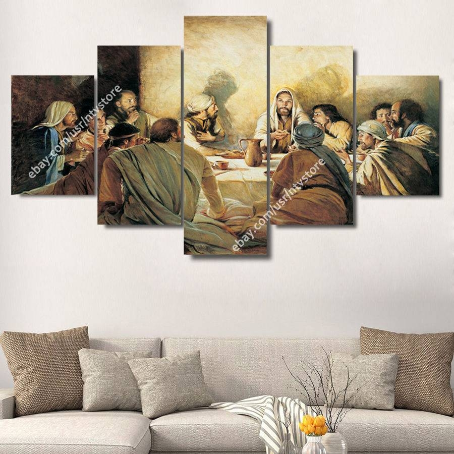 Jesus Christ & Apostles Painting Wall Art Canvas Print Christian Throughout Most Popular Christian Canvas Wall Art (Gallery 20 of 20)