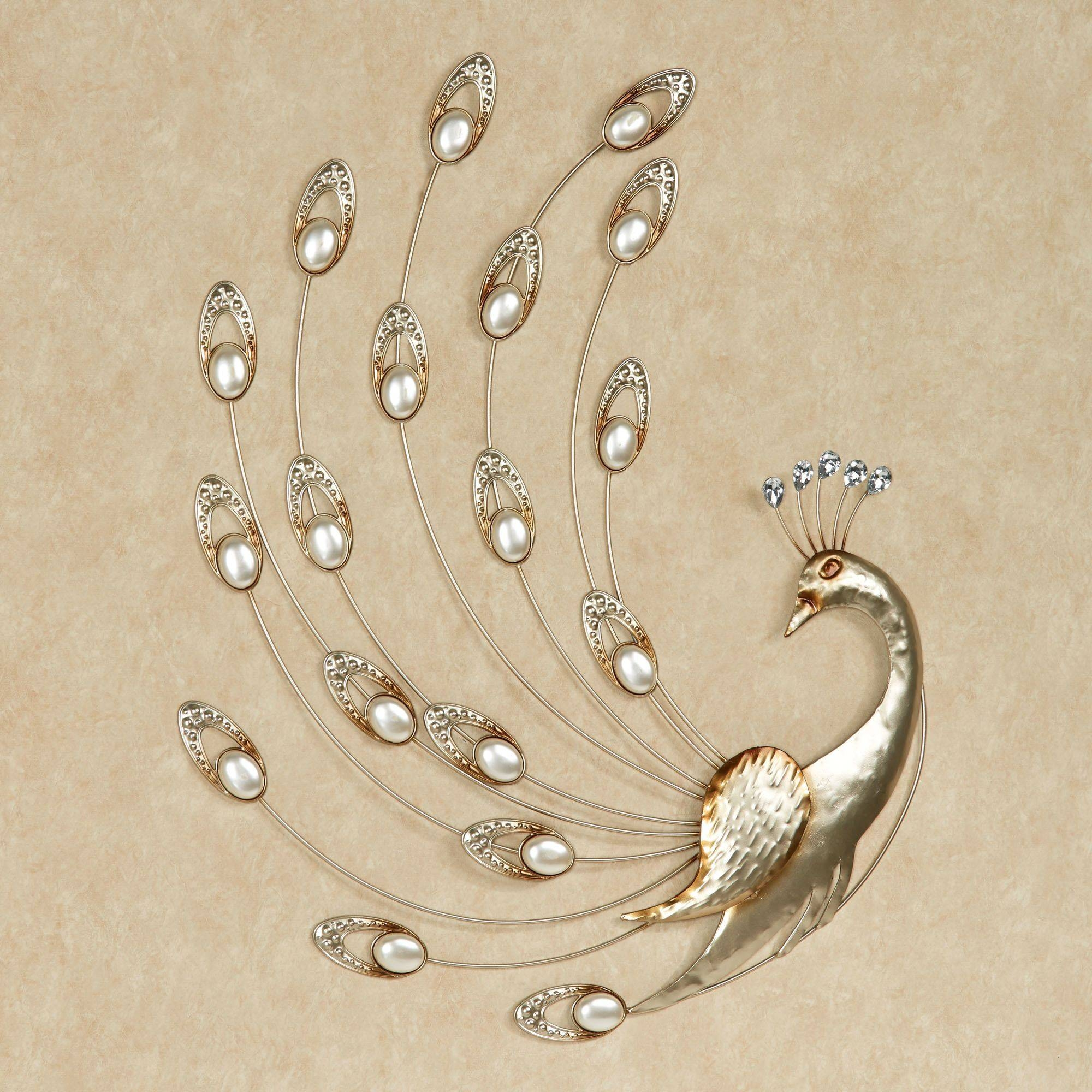 Julietta Pearl Peacock Metal Wall Art With Regard To Most Popular Metal Peacock Wall Art (View 2 of 20)