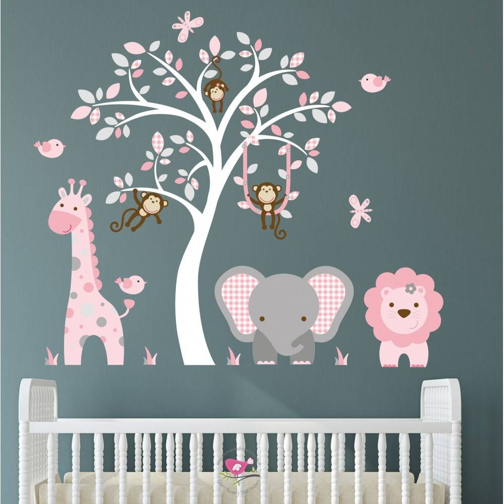 Jungle Animal Nursery Wall Art Stickers Within Most Recently Released Pink And Grey Wall Art (Gallery 13 of 20)