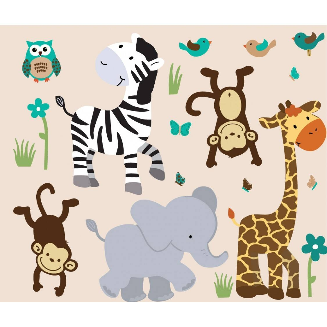 Jungle Decals With Zebra Wall Stickers For Boys Bedrooms pertaining to Newest Animal Wall Art