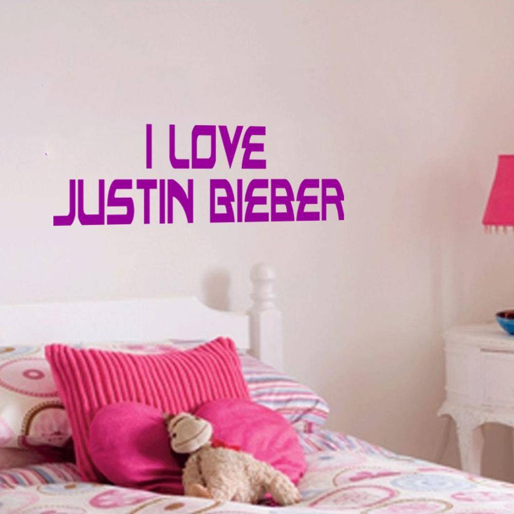 Justin Bieber Beiber Wall Art Bedroom Sticker Decal I Love Justin intended for Most Up-to-Date Justin Bieber Wall Art