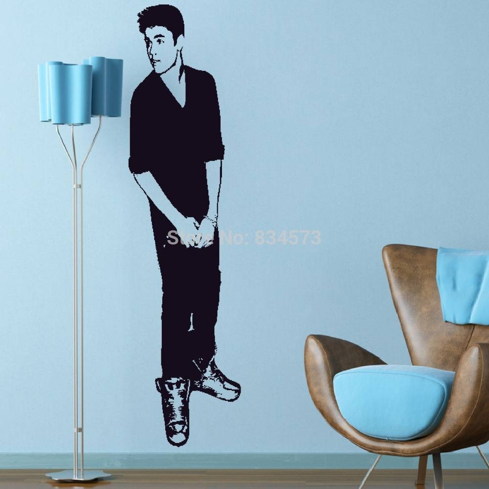 Justin Bieber Celebrity Silhouette Wall Art Stickers Decal Home pertaining to 2017 Justin Bieber Wall Art