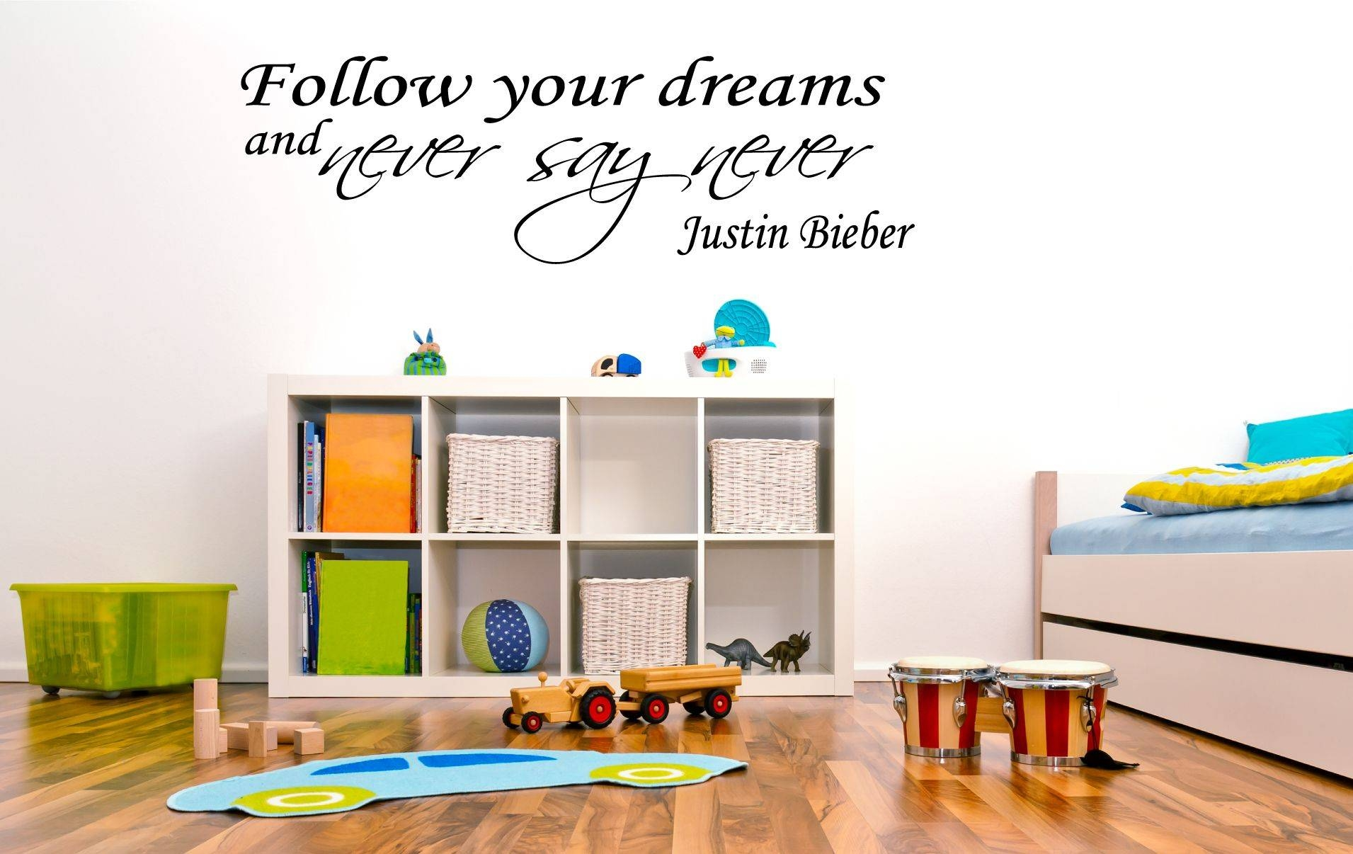 Justin Bieber- Follow Your Dreams And Never Say Never.. Vinyl Wall Art throughout Newest Justin Bieber Wall Art