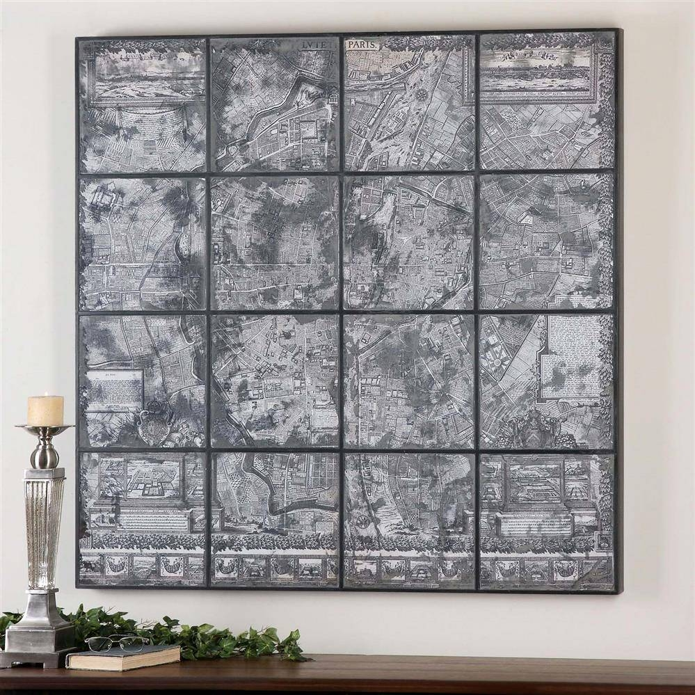 Kase Industrial Loft Dark Antique Mirror Parisian Map Wall Art Regarding Most Popular Antique Map Wall Art (View 10 of 20)