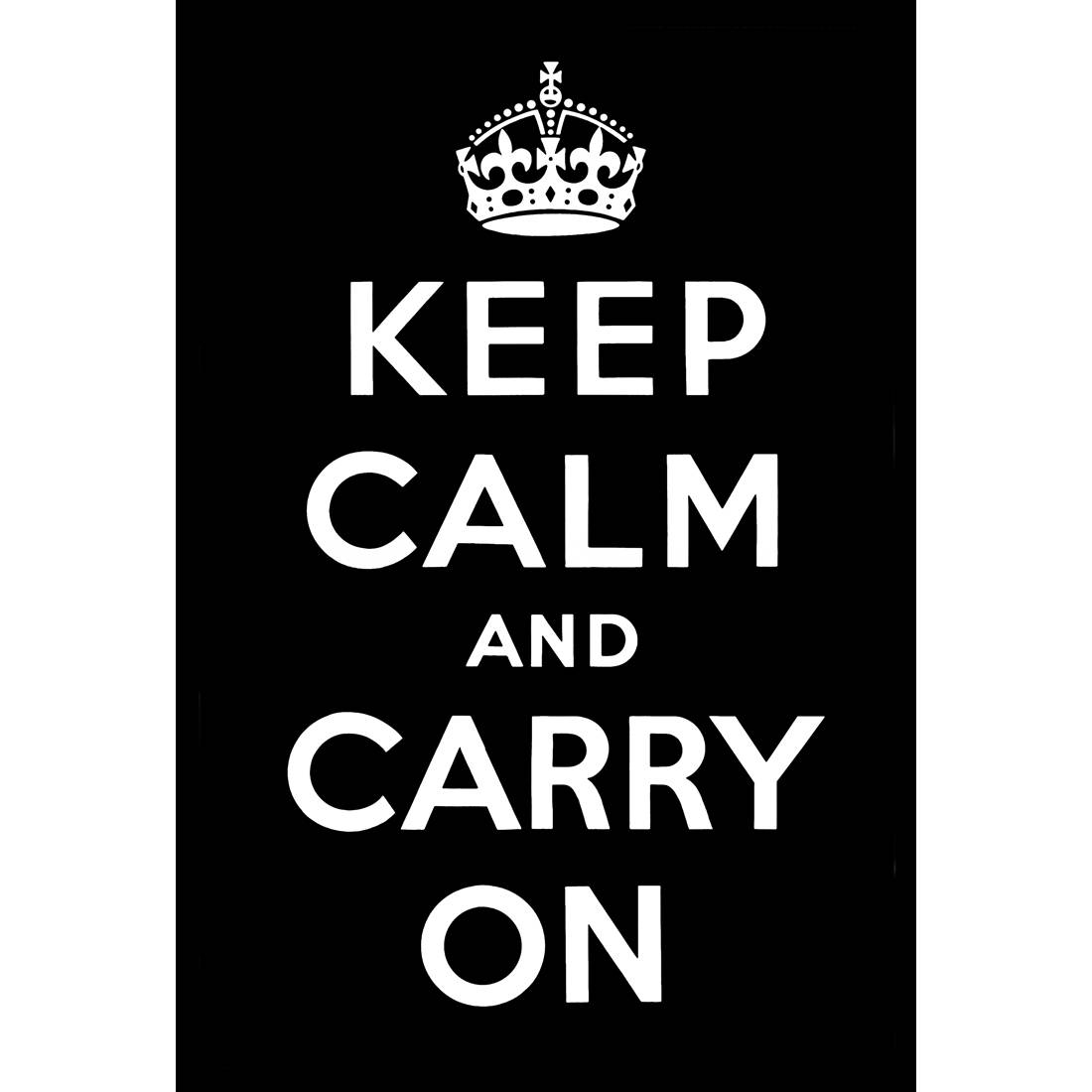 Keep Calm And Carry On, Black – Canvas Print – Wall Art – Australia Intended For Most Up To Date Keep Calm And Carry On Wall Art (View 8 of 25)
