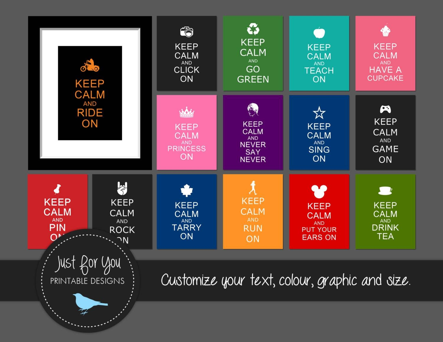Keep Calm And Carry On – Create Your Own – You Print (Digital File In Most Current Keep Calm And Carry On Wall Art (View 6 of 25)