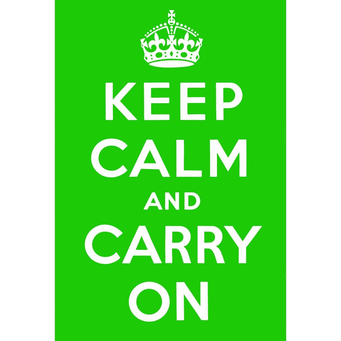 Keep Calm And Carry On, Green - Canvas Print - Wall Art - Australia with Most Popular Keep Calm And Carry On Wall Art