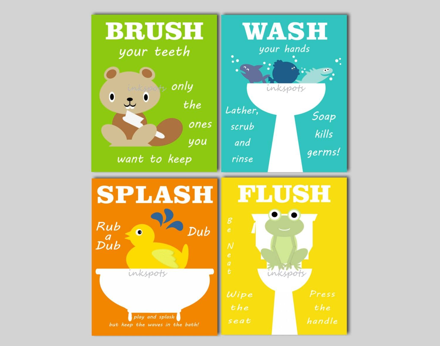 Kids Bathroom Art Bathroom Prints Bathroom Wall Art Rubber Intended For Current Kids Bathroom Wall Art (View 5 of 20)