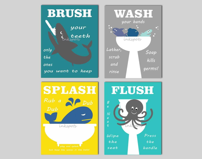 Kids Bathroom Prints Kids Bath Wall Art Bathroom Rules Inside Recent Kids Bathroom Wall Art (View 14 of 20)