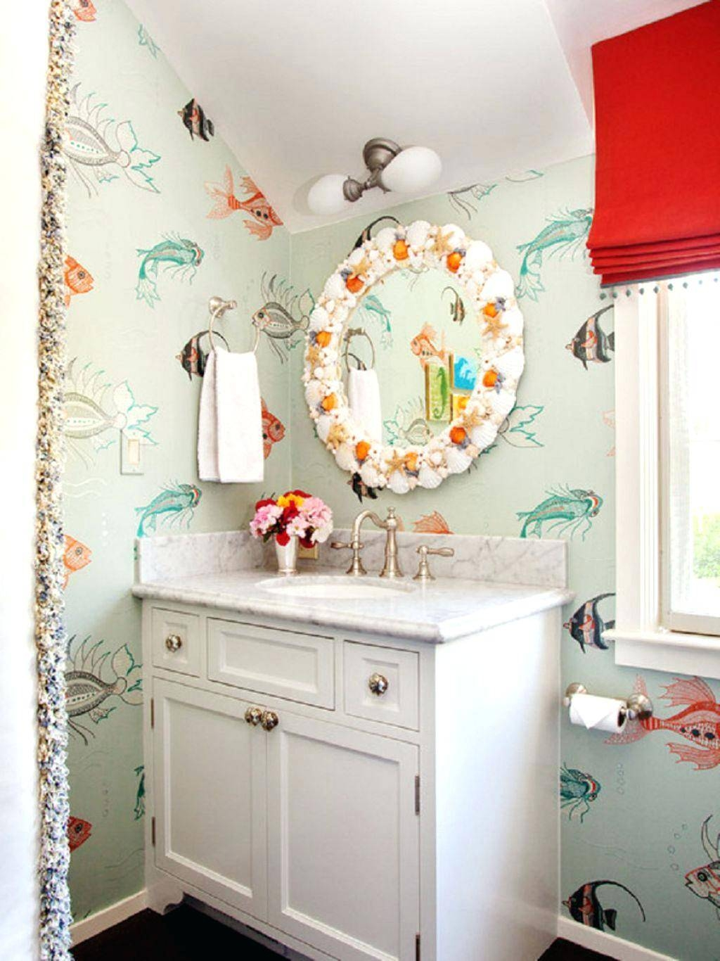 Kids Bathroom Wall Decals Bathroom Vibrant Red Roman Shade Also Intended For Best And Newest Fish Decals For Bathroom (View 12 of 30)