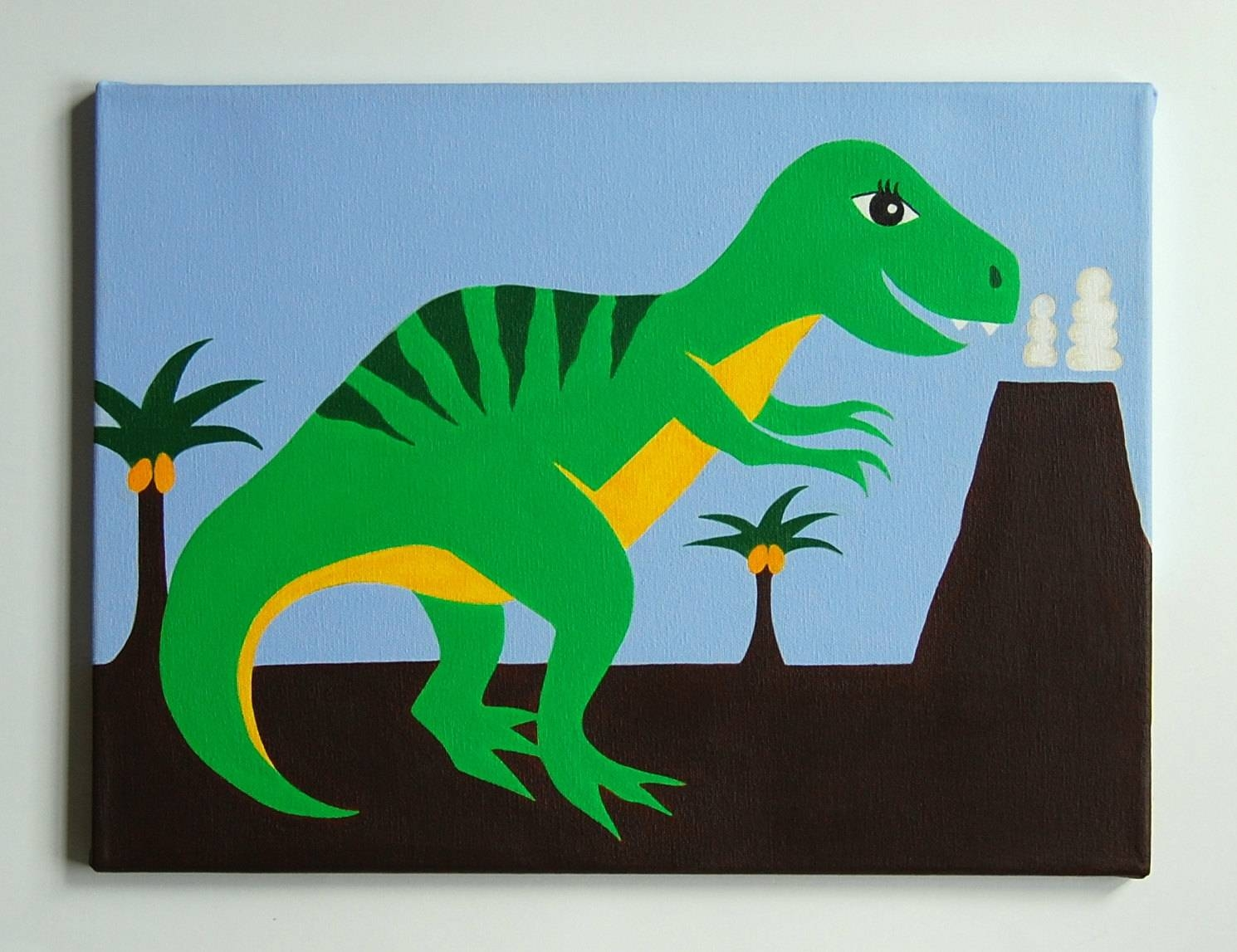 Kids Dinosaur Art T Rex Painting Dinosaur Nursery Art Regarding Most Recent Dinosaur Wall Art For Kids (View 17 of 20)