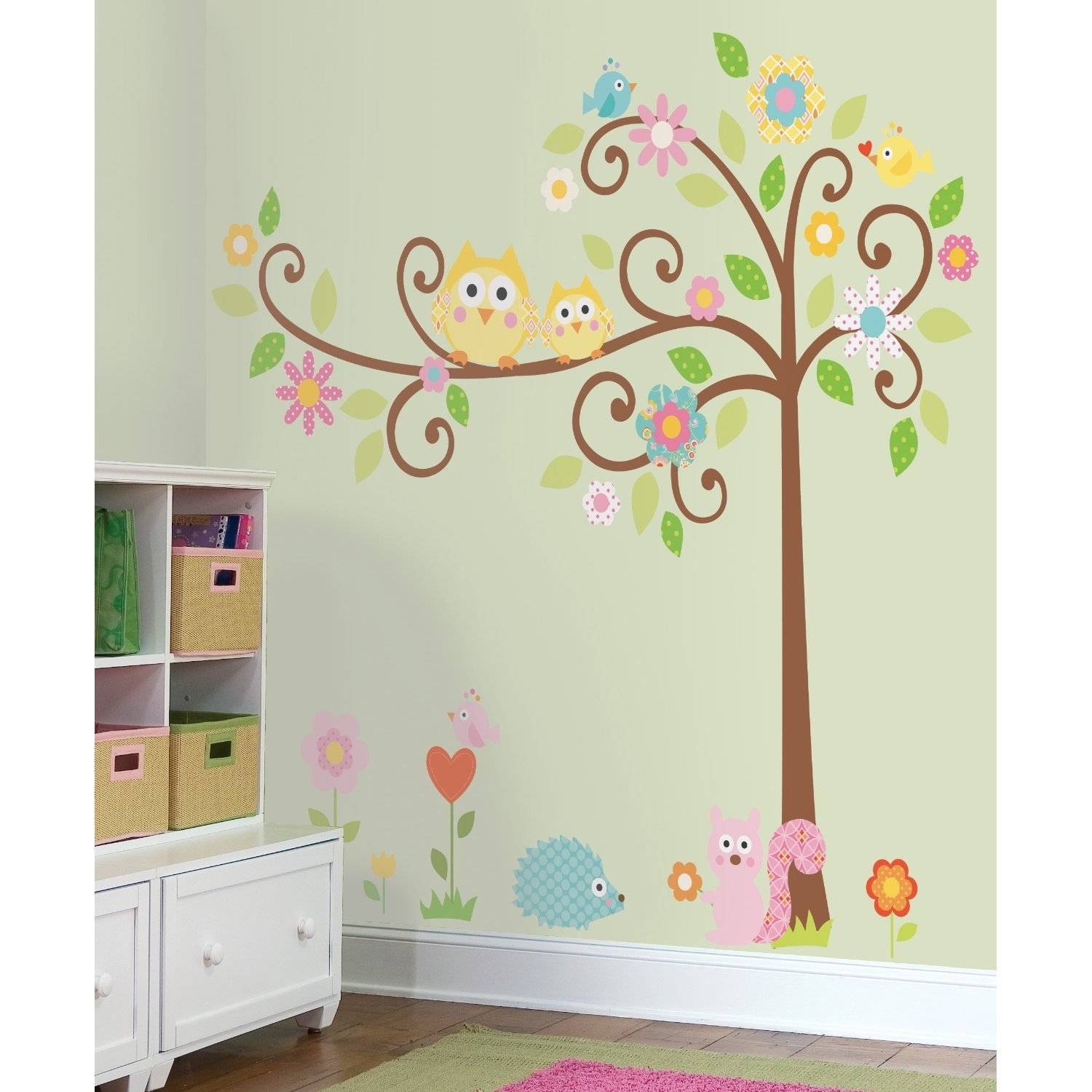 Kids Room. Wall Decal Ideas For Wall Decorations: Yellow Owls In For Current Painted Trees Wall Art (Gallery 7 of 20)