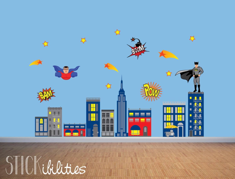 Kids Super Hero Wall Decals Super Hero Wall Art Wall Intended For 2017 Superhero Wall Art For Kids (View 20 of 25)