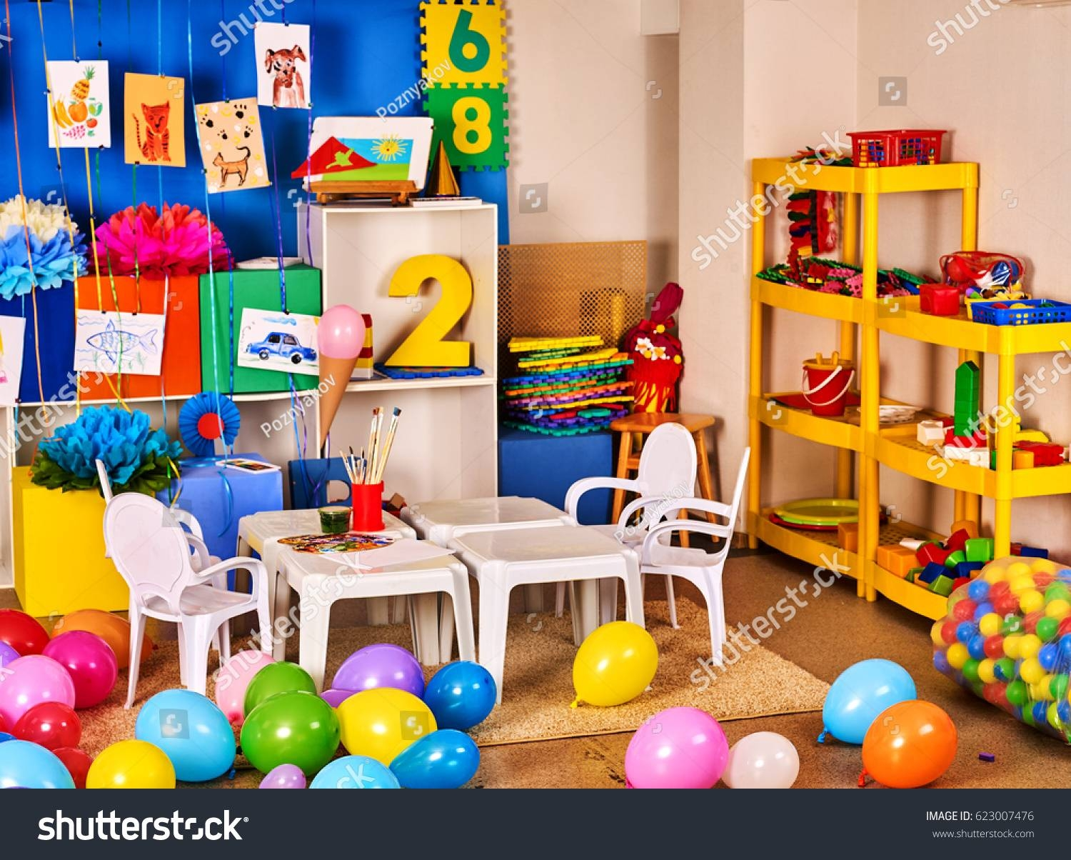 Kindergarten Interior Decoration Child Picture Wall Stock Photo Regarding Newest Preschool Wall Decoration (Gallery 16 of 30)