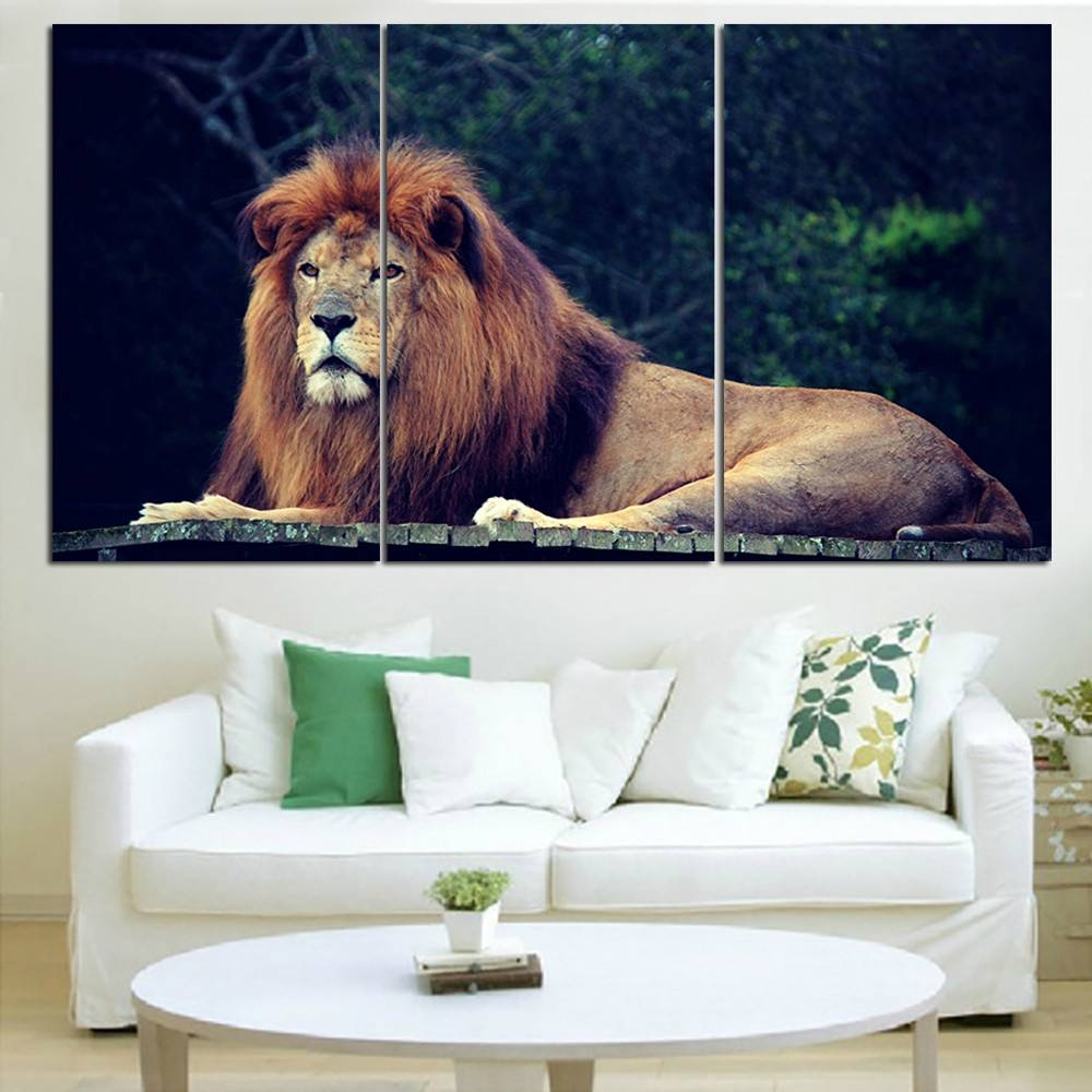 King Of The Jungle Animal Wall Pictures Prints Lion Animal Wall Within Best And Newest Jungle Canvas Wall Art (Gallery 3 of 20)