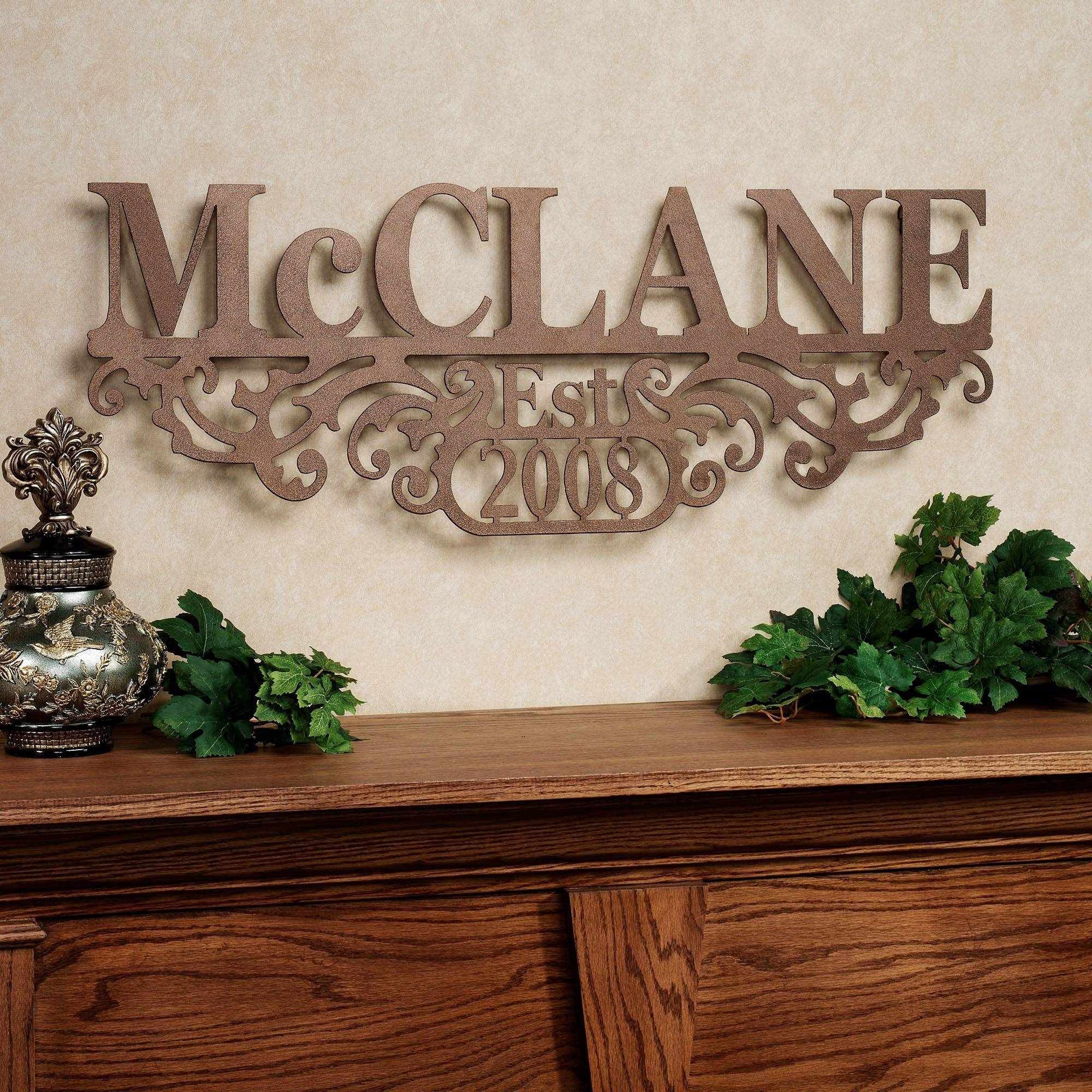 Kinship Bronze Family Name And Year Personalized Metal Wall Art Sign Regarding Recent Personalized Wall Art With Names (View 8 of 20)