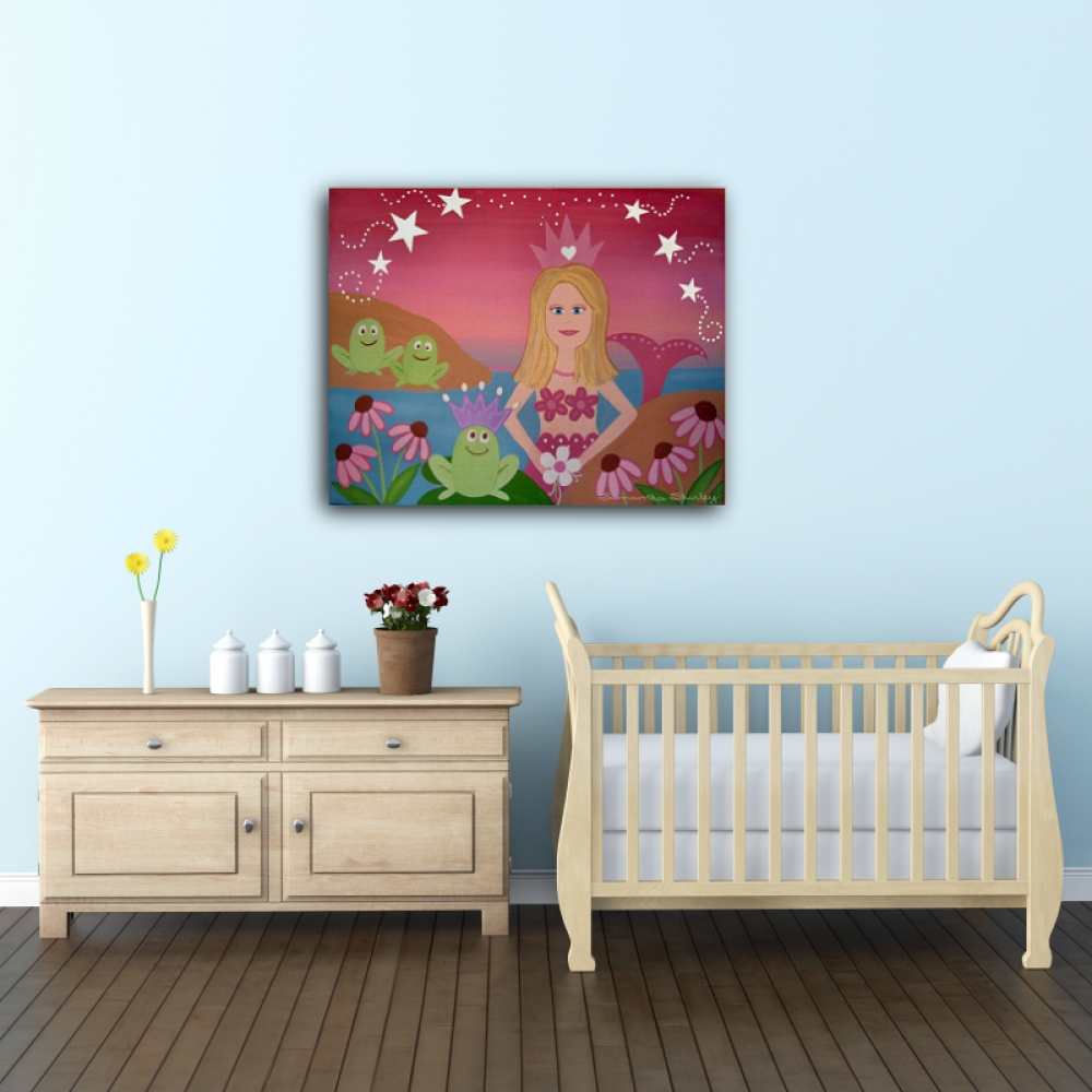 Kiss The Frogs – Kids Art Canvas Panel Children's Decor – Mermaid Inside Latest Childrens Wall Art Canvas (Gallery 13 of 20)