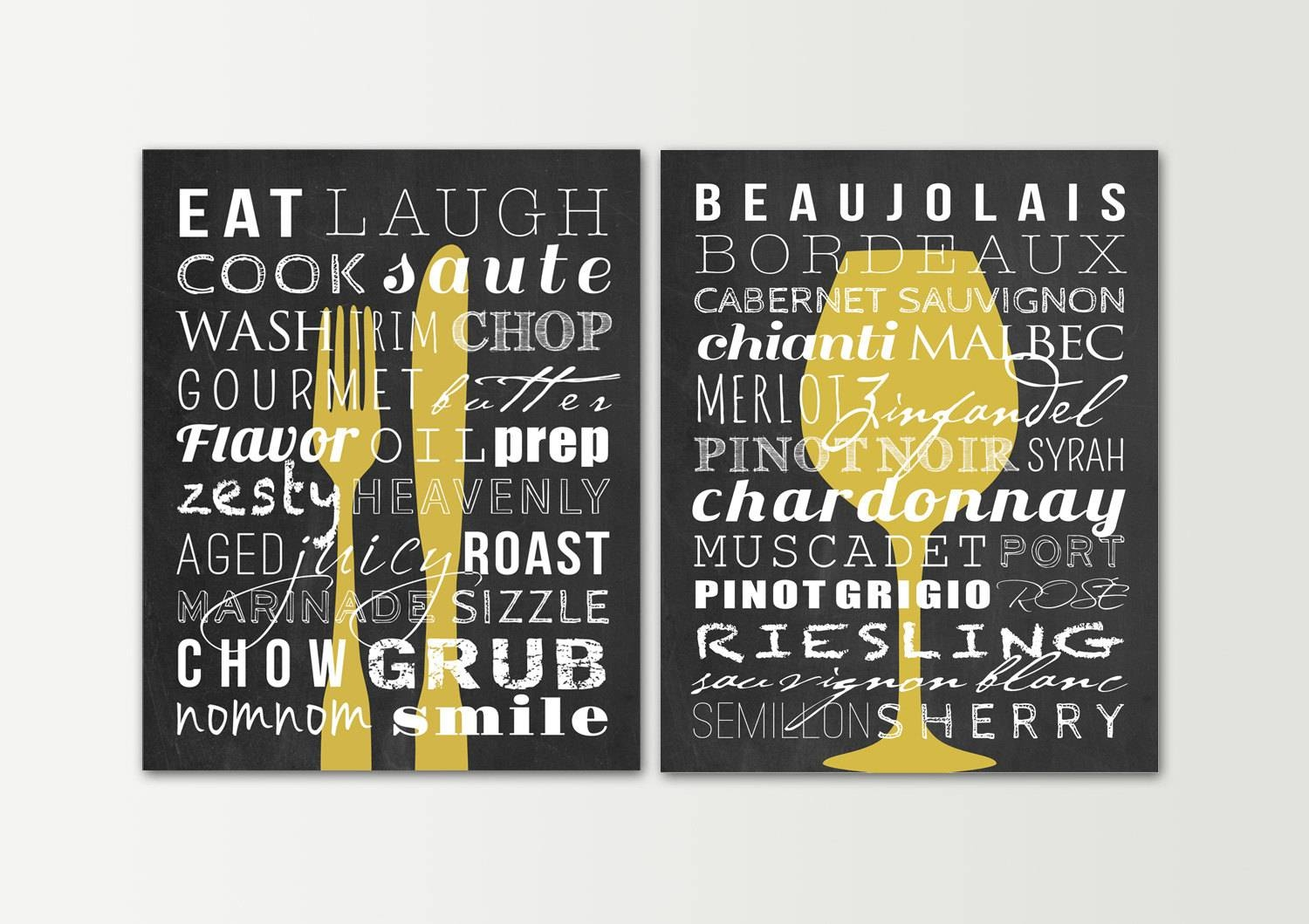 Kitchen Decor Kitchen Signs Set Dining Room Wall Art Regarding Recent Kitchen And Dining Wall Art (View 11 of 25)