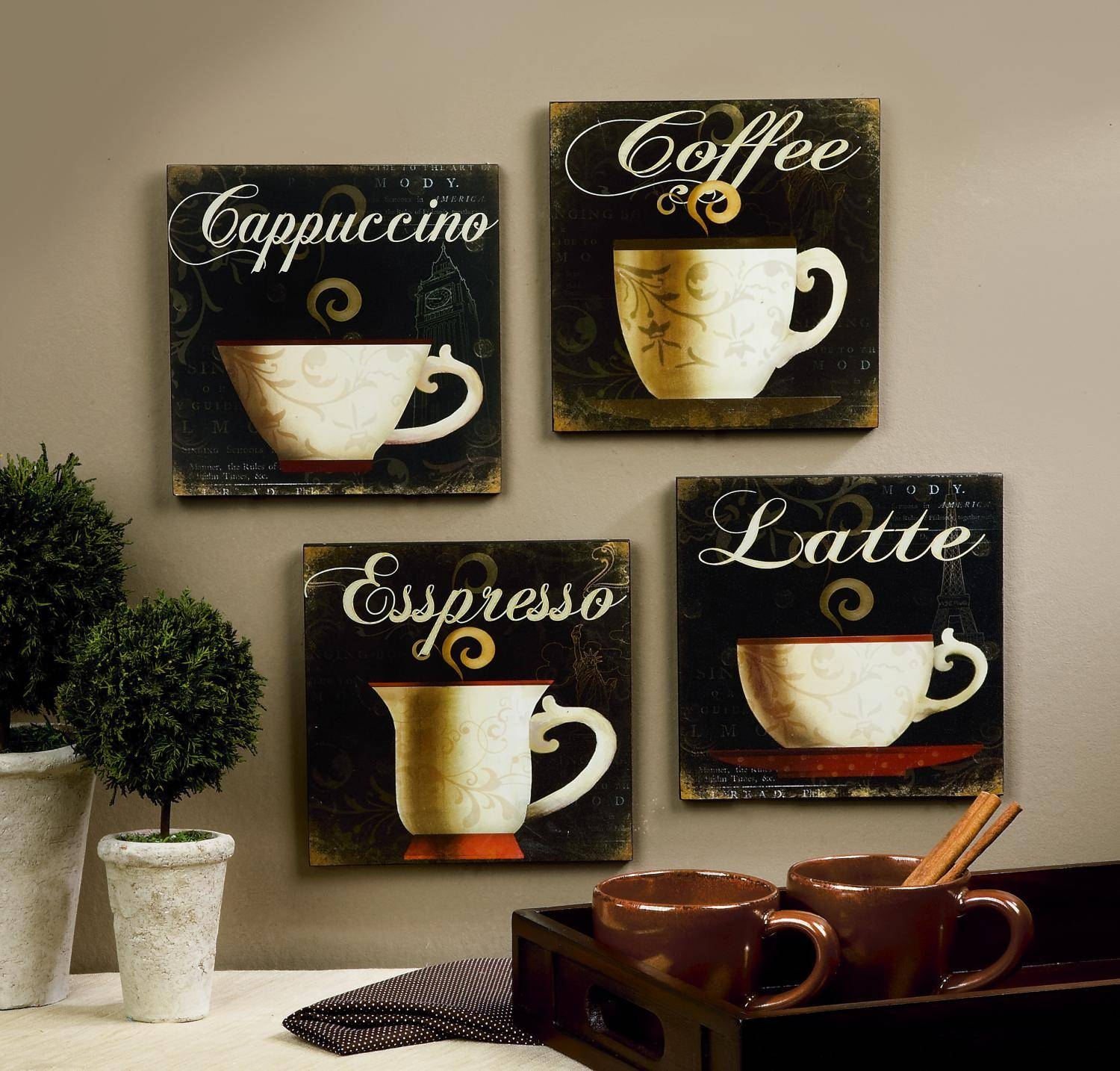 Kitchen Design Pictures Unique Cappuccino Esspresso Latte Image regarding Most Up-to-Date Cafe Latte Kitchen Wall Art