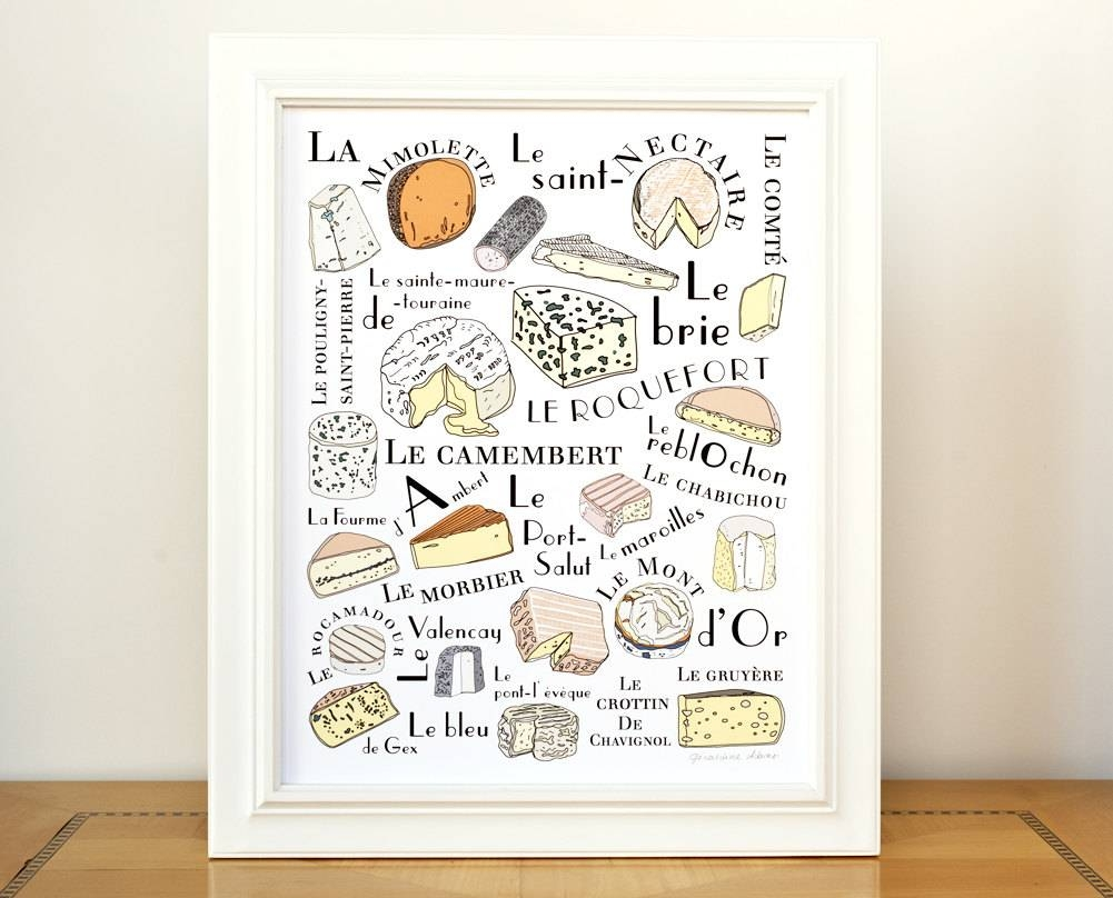 Kitchen Wall Art Print 'french Cheeses' Art For throughout 2018 Kitchen Wall Art