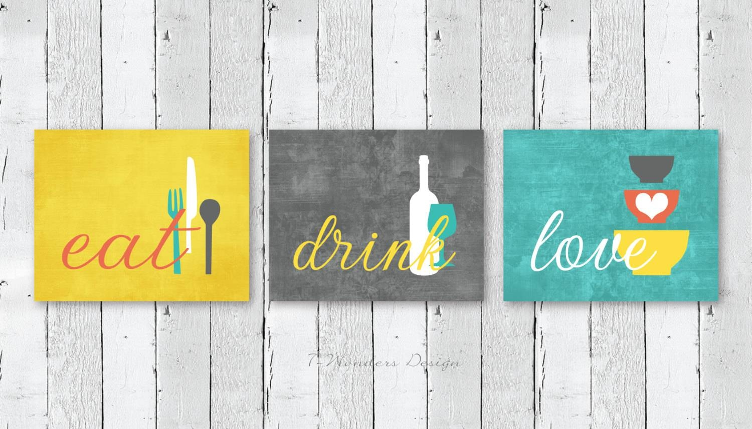Kitchen Wall Art Print Set Eat Drink Love Mustard-Yellow with Most Up-to-Date Cucina Wall Art