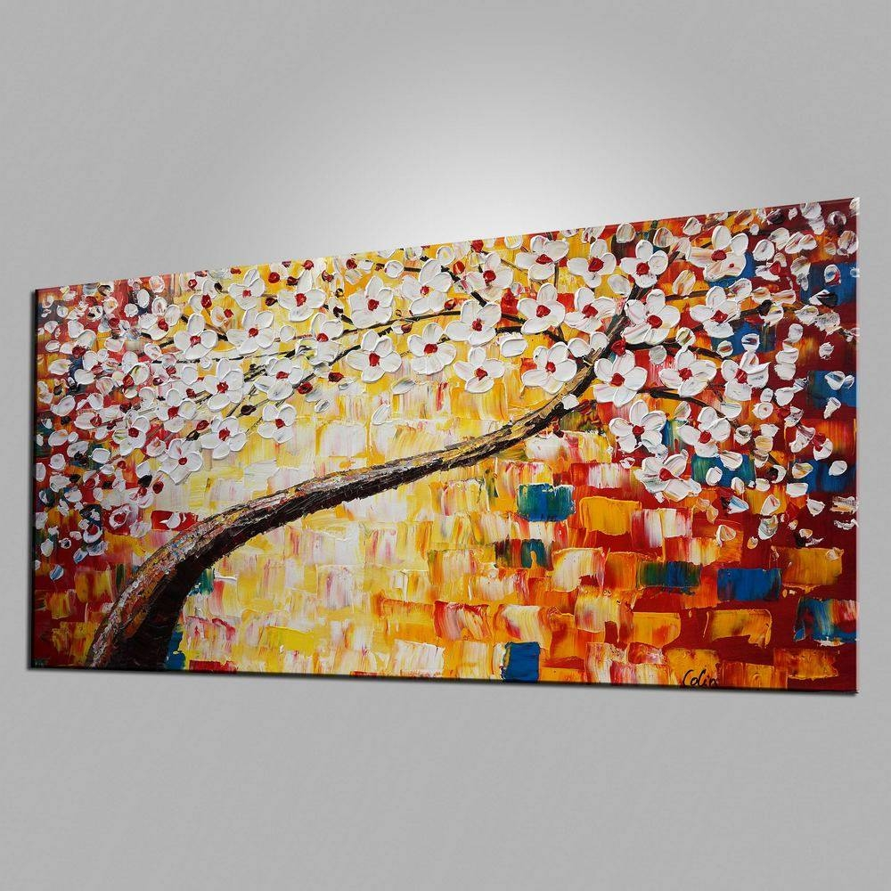 Kitchen Wall Art, Tree Painting, Flower Painting, Heavy Texture Regarding Most Up To Date Large Wall Art For Kitchen (Gallery 11 of 20)
