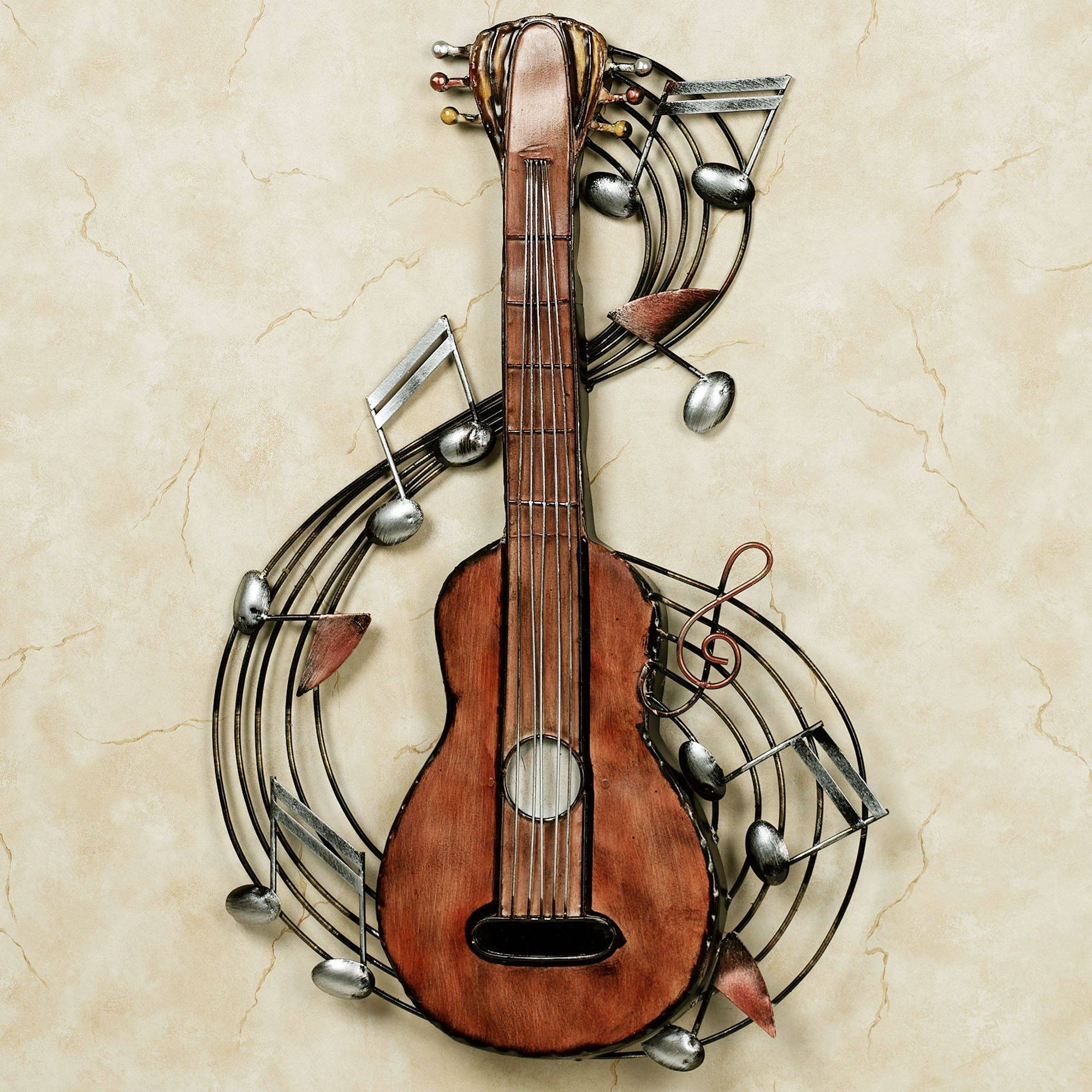 Kithara Guitar Metal Wall Art For Most Popular Music Metal Wall Art (Gallery 12 of 20)