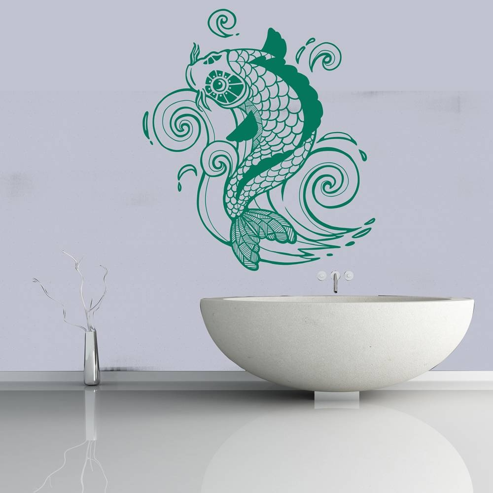Koi Carp Decorative Fish Under The Sea Wall Stickers Bathroom in Most Recently Released Fish Decals For Bathroom