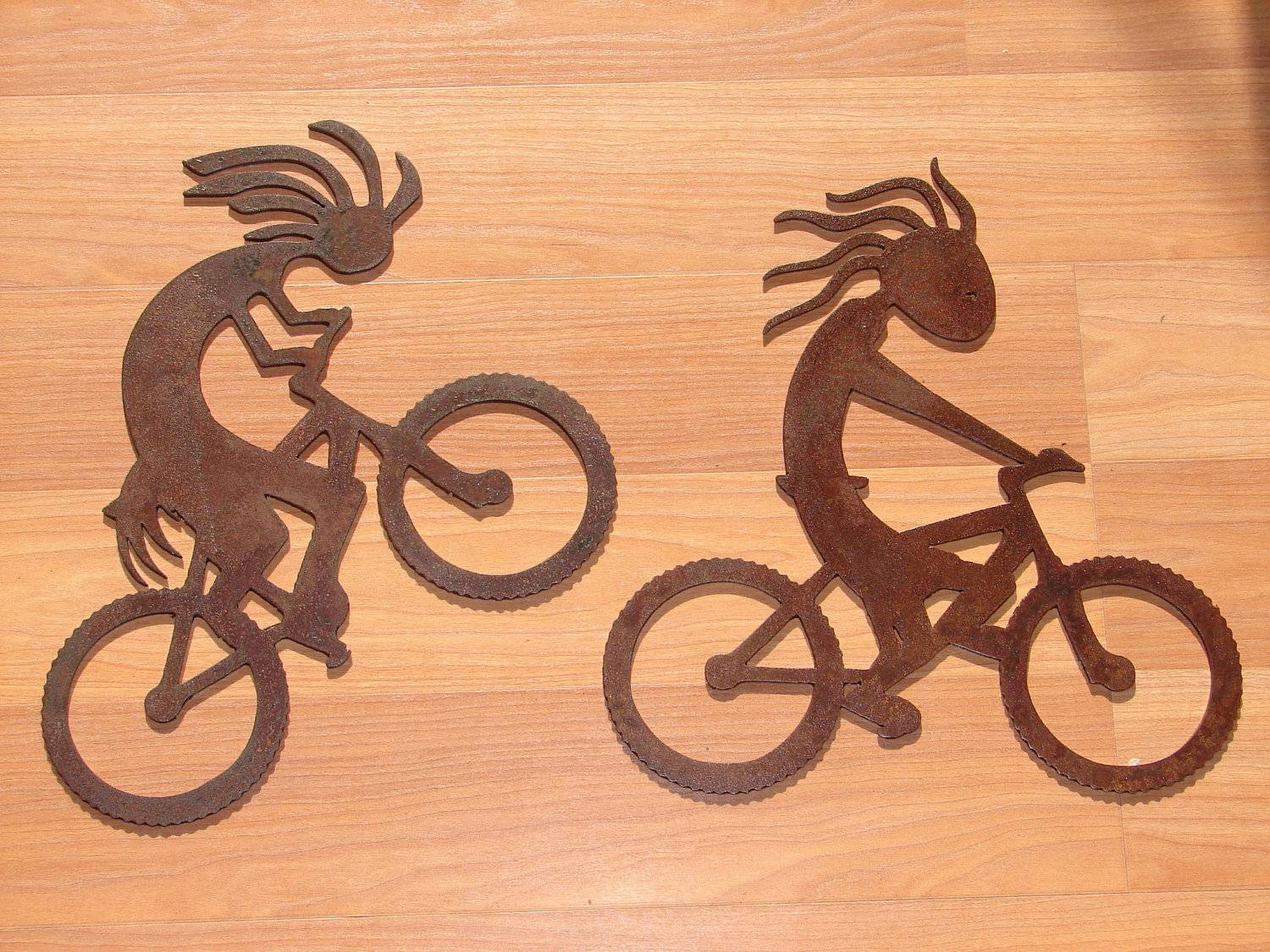 Kokopelli Metal Wall Art Set Home Decor Bar Southwest With Regard To Best And Newest Cycling Wall Art (View 3 of 25)
