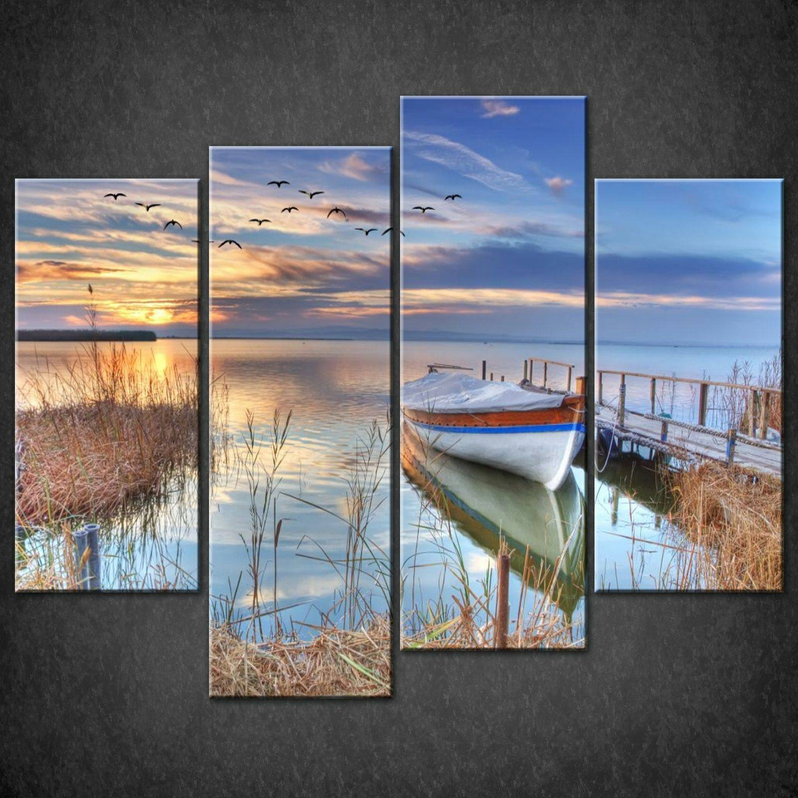 Lake Boat Blue Split Canvas Wall Art Pictures Prints Larger Sizes Intended For Most Recent Boat Wall Art (Gallery 4 of 20)