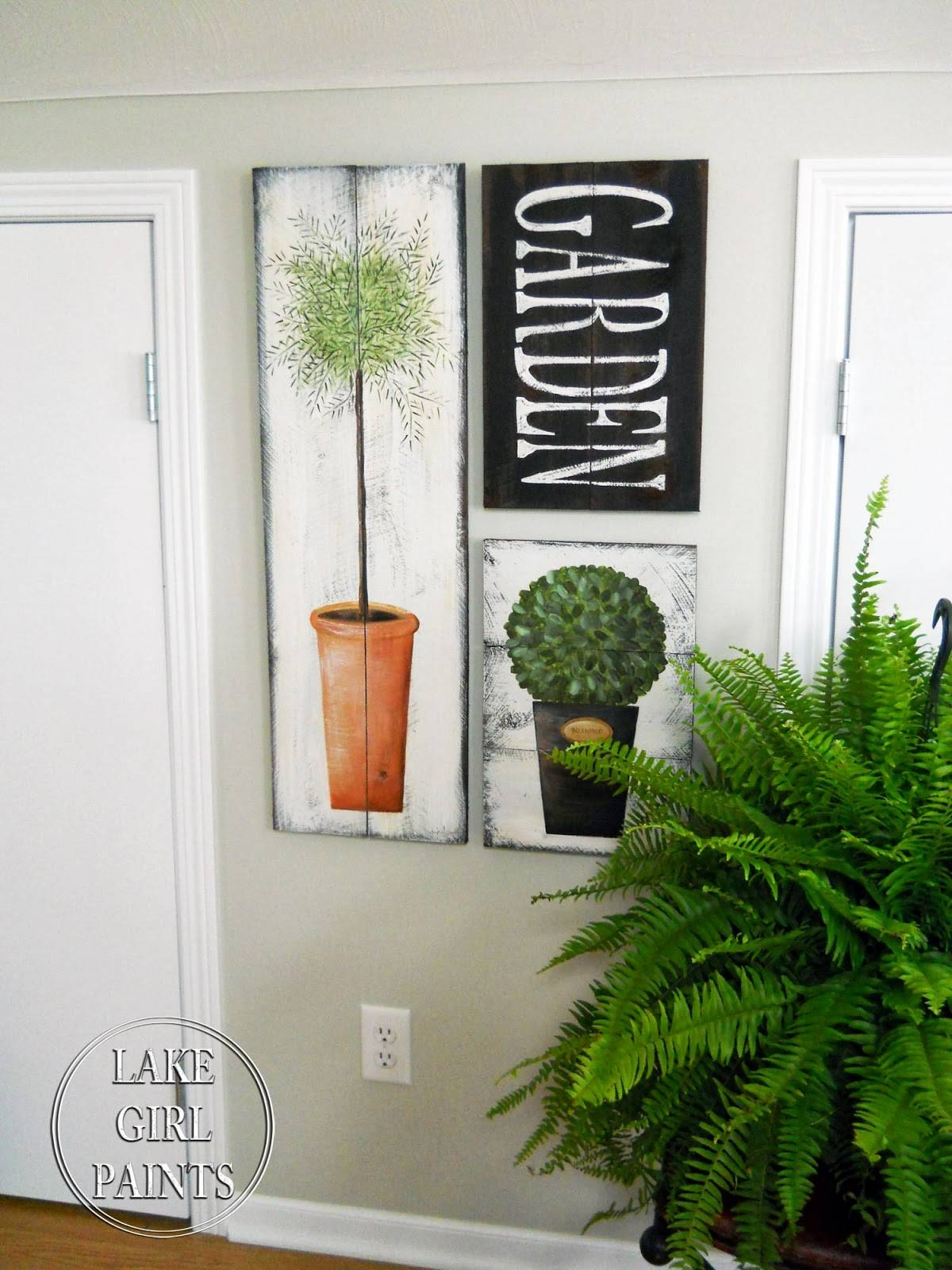 Lake Girl Paints: Topiary Garden Art On Rustic Boards With Recent Topiary Wall Art (View 6 of 30)