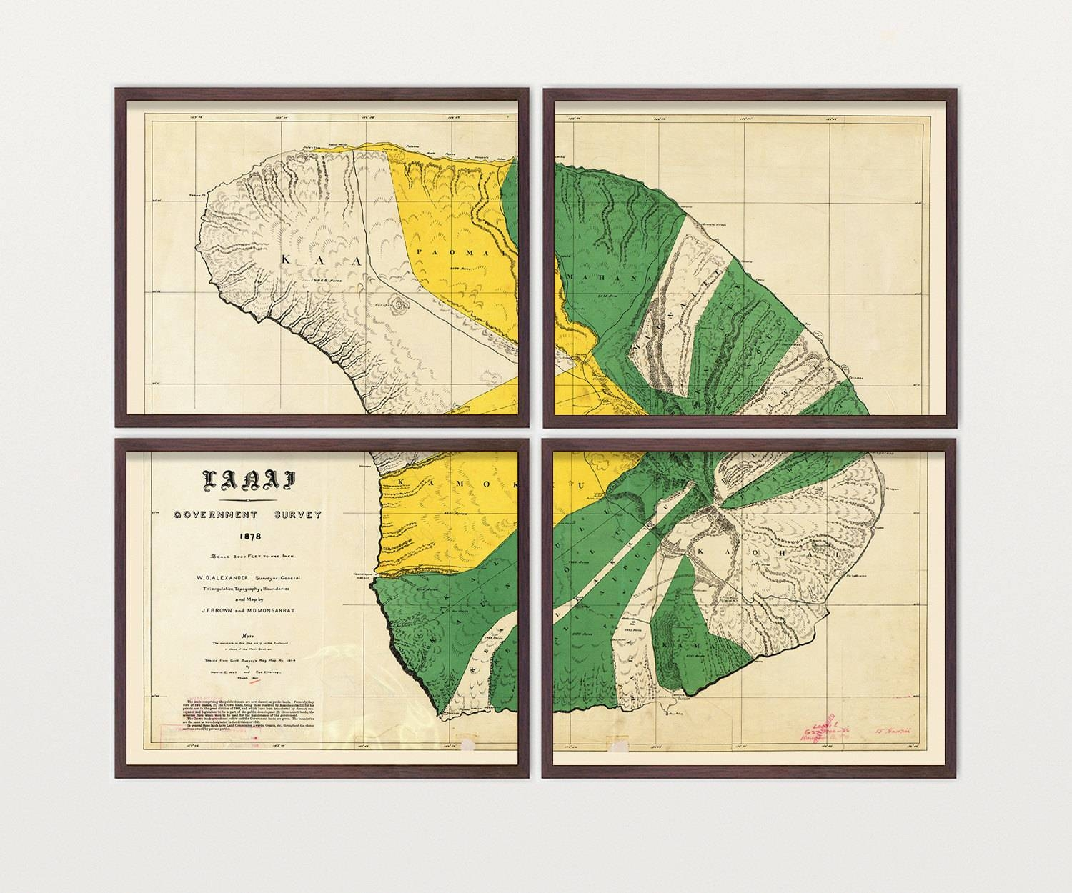 Lanai Map – Antique Map – Archival Reproduction – Hawaii Art Within Newest Hawaiian Wall Art (View 16 of 20)