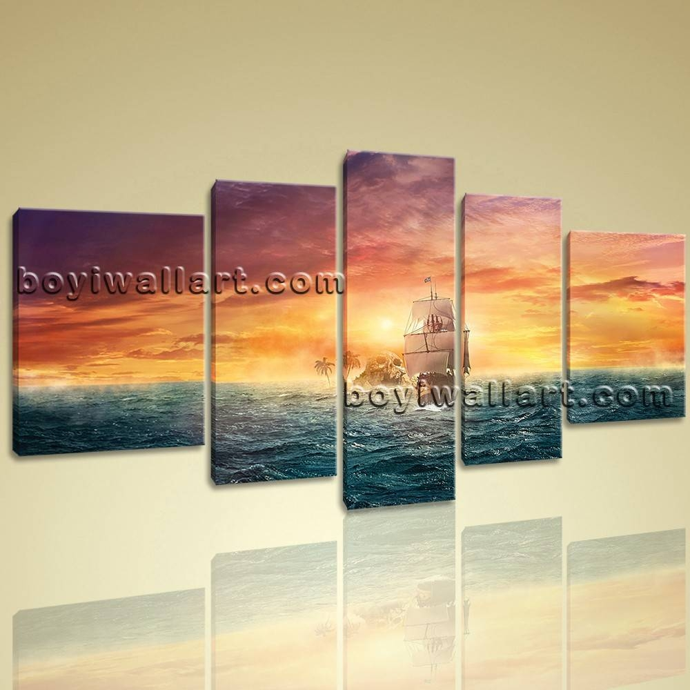 Landscape Sunset Boat Sailing Wall Art Prints Canvas Ready To Hang Regarding Most Current Hang Wall Art Prints (View 11 of 15)