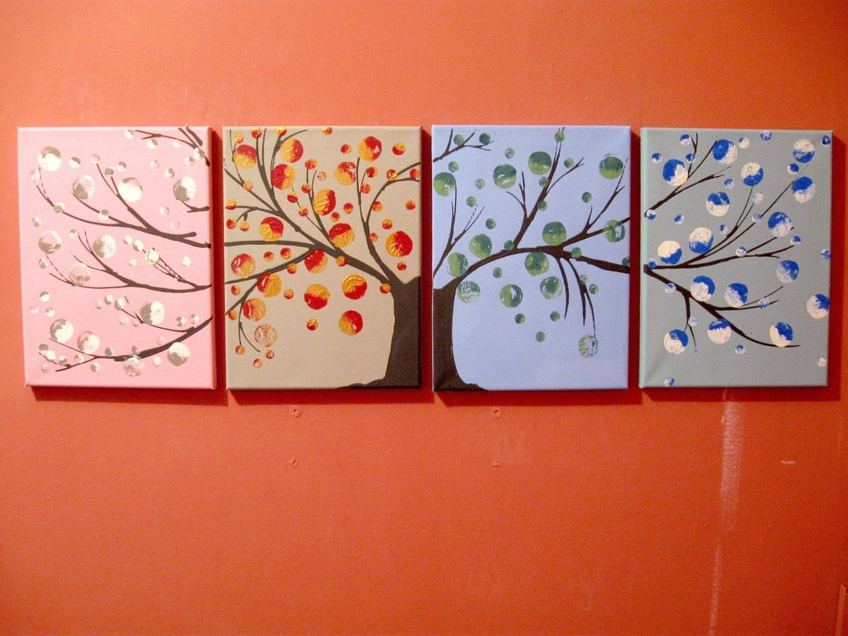 Landscape Tree Of Life Painting Canvas Triptych Large Wall Art Within Newest Large Triptych Wall Art (View 13 of 20)
