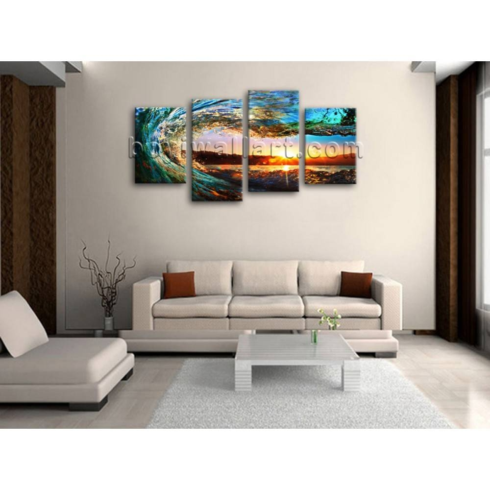 Large 4 Pieces Canvas Prints Gallery Wrapped Wall Art Surf Sunset Inside Current Oversized Framed Art (View 20 of 20)