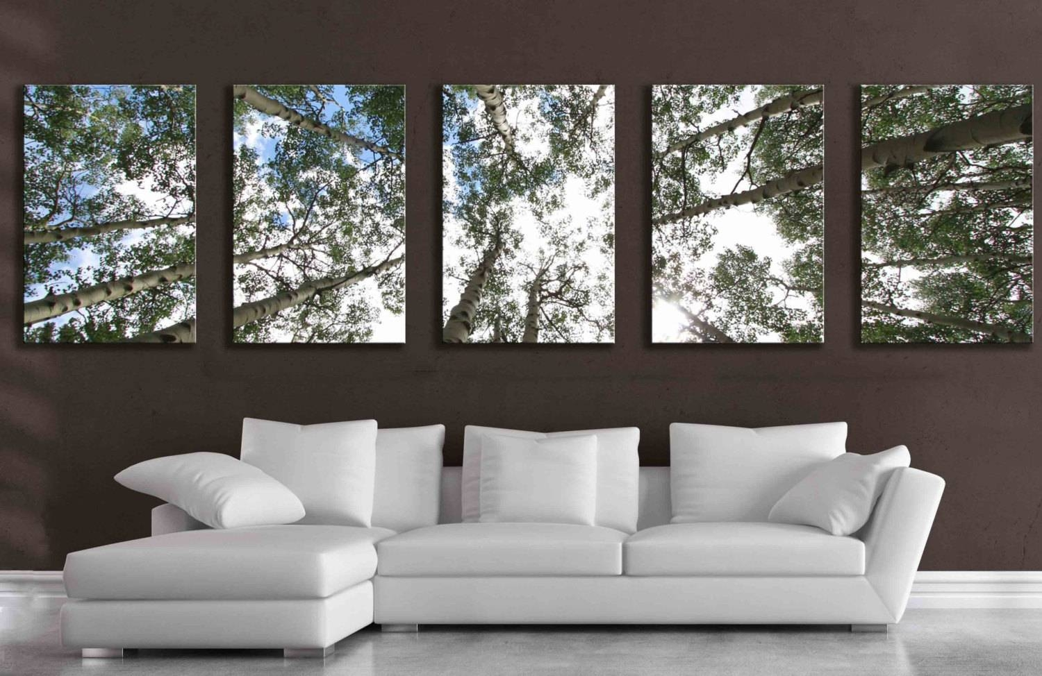 Large 5 Panel Wall Art Aspen Tree Canvas Decor Five Multipiece With Regard To Recent Large Green Wall Art (View 6 of 20)