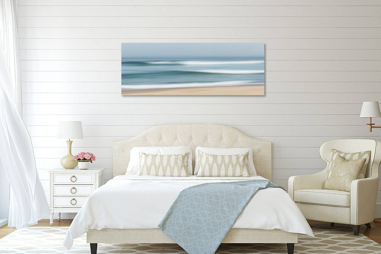 Large Abstract Beach Canvas Wall Art Ocean Seascape Within Most Current Beach Wall Art For Bedroom (View 12 of 20)