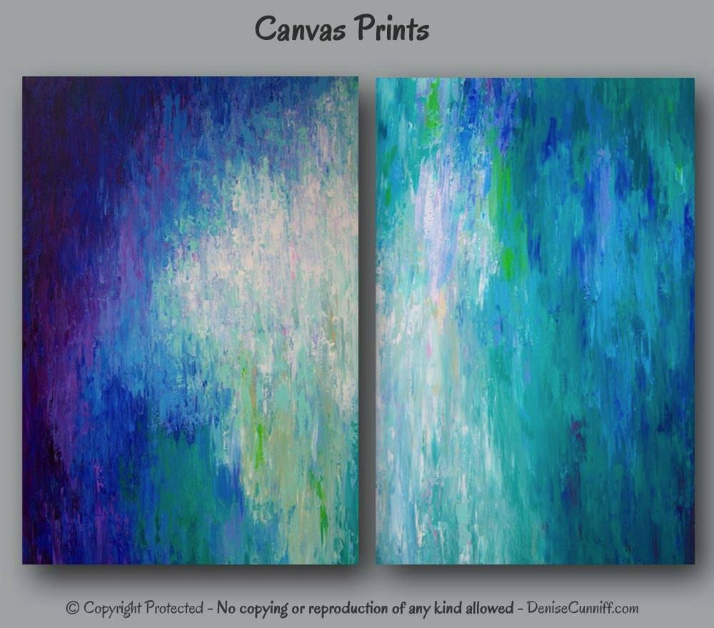 Large Abstract Canvas Art Print Set Wall Art Teal Home Intended For Latest Large Teal Wall Art (View 11 of 20)