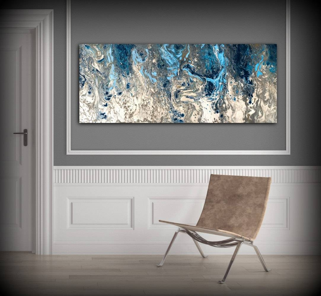 Large Abstract Painting Print Navy Blue Print Art Large Canvas Pertaining To Most Popular Blue Wall Art (Gallery 3 of 20)