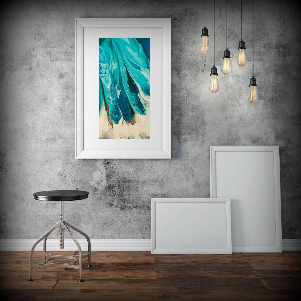 Large Abstract Print From Canvas Painting 24X48 Giclee Blue Throughout 2018 Blue And Green Wall Art (View 9 of 20)