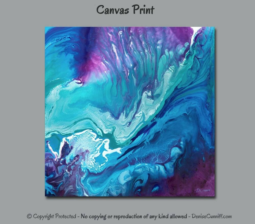 Large Abstract Wall Art Bedroom Decor Teal Blue Aqua Navy Throughout Most Recently Released Plum Wall Art (View 11 of 20)