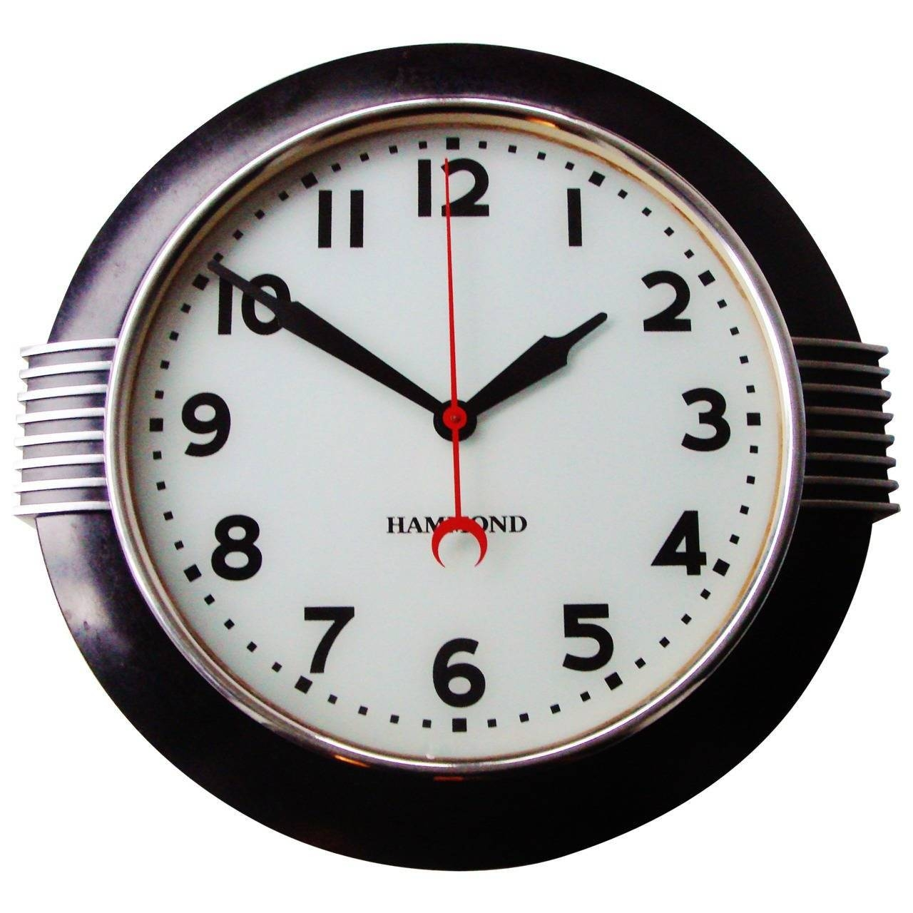 Large American Art Deco Chrome And Black Illuminated Dial Wall Regarding Latest Large Art Deco Wall Clocks (View 13 of 30)